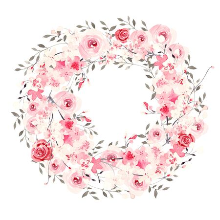 Beautiful watercolor wedding  wreath with flowers. Illustration