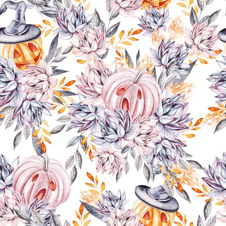 Watercolor succulents and pumpkins seamless pattern. Seamless texture with objects: plants, succulent, pumpkins. Hand painted vintage halloween background. Illustration