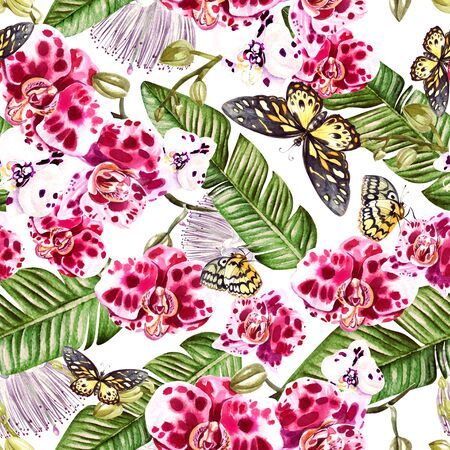 Beautiful watercolor pattern with orchid flowers, palm leaves and butterfly. Illustration. Banco de Imagens