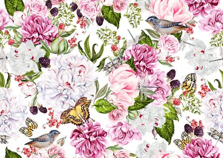 Watercolor pattern with flowers of peony and roses, berryes and birds.  Raspberries, currants and blackberries. Illustration