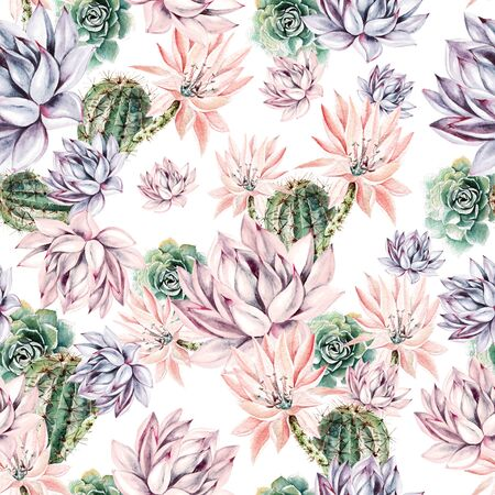 Watercolor blooming cactus background. Exotic cacti with flowers, seamless pattern. Succulent plants and cactus garden pattern. Hand painted watercolor illustration.