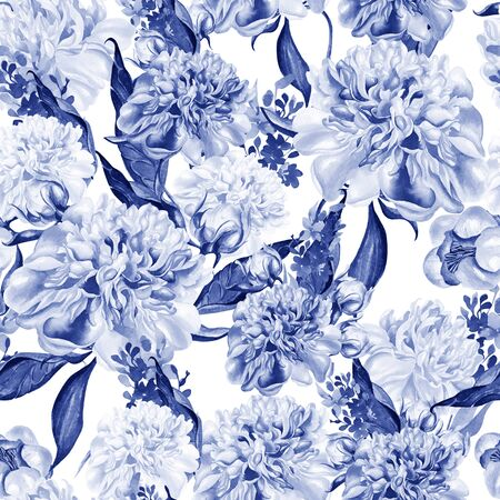 Bright watercolor seamless pattern with peony flowers. Illustration Stock Photo