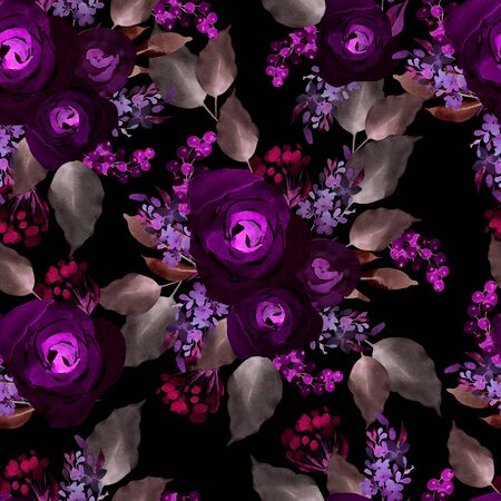 Bright colorful seamless pattern with flowers of roses and berry. Illustration Stock Photo