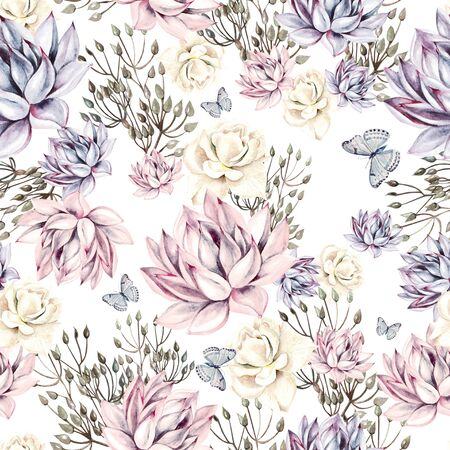 Watercolor succulents seamless pattern.