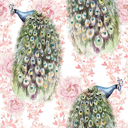 Bright colorful seamless pattern with flowers of roses and peony, peacock bird. Illustration 写真素材
