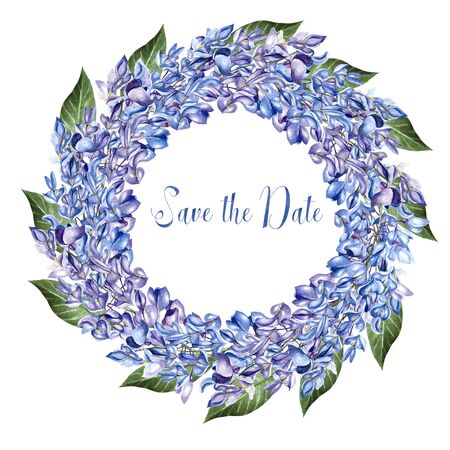 Beautiful watercolor wreath  with flowers of wisteria. Illustration Banco de Imagens - 131661398