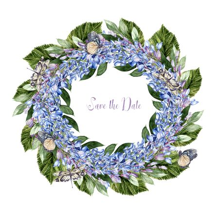 Beautiful watercolor wreath  with flowers of wisteria, butterfly and dragonfly. Illustration Banco de Imagens - 131661400