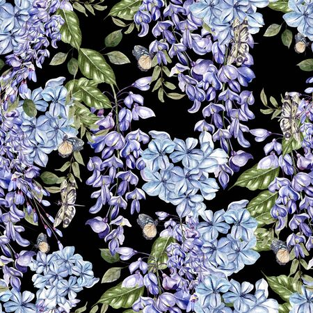 Beautiful watercolor seamless pattern with flowers of wisteria and plumbago. Illustration. Banco de Imagens