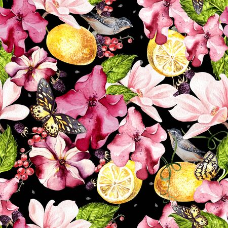 Seamless background with watercolors petunia, magnolia and lemon. Berryes, butterfly  and birds. Lovely realistic garden flowers. Perfect for manufacture wrapping paper, textile, web design.