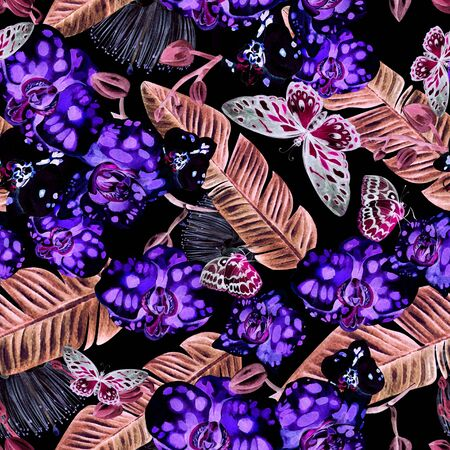 Beautiful watercolor pattern with orchid flowers, palm leaves and butterfly. Illustration. Banco de Imagens - 131661402