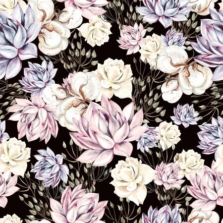 Watercolor succulents seamless pattern. Seamless texture with objects: plants, succulent, roses, cotton. Hand painted vintage gardening background.  Illustration Фото со стока