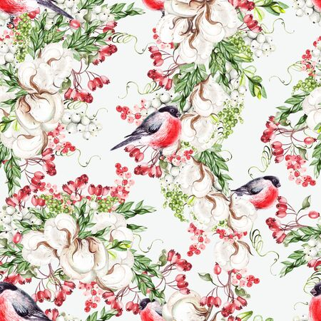 Beautiful watercolor Christmas pattern with bullfinch birds, cotton and snowberry. Illustration Banco de Imagens - 131553554