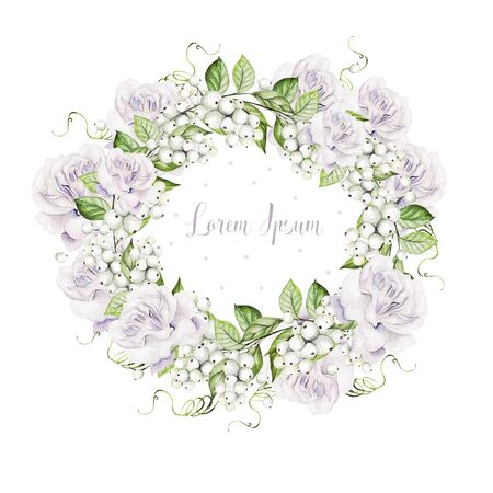 Bright watercolor wedding wreath with snowberry and  tender roses. Illustration Banco de Imagens - 131553556