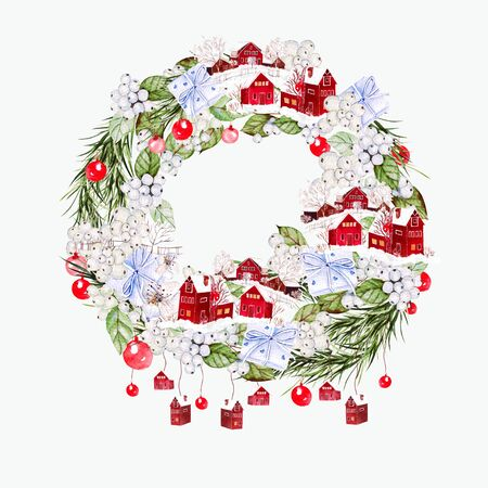 Bright watercolor christmas wreath with funny winter village, flowers and gifts. Illustration for greeting cards and invitations. Banco de Imagens - 131553557