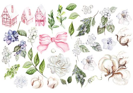 Beautiful watercolor Christmas set with Christmas houses, snowberry, blueberries, roses, cotton and leaves. Illustration