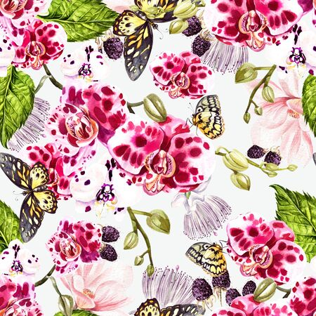 Beautiful watercolor pattern with orchid, magnolia  flowers, palm leaves and butterfly. Illustration. Stock Photo
