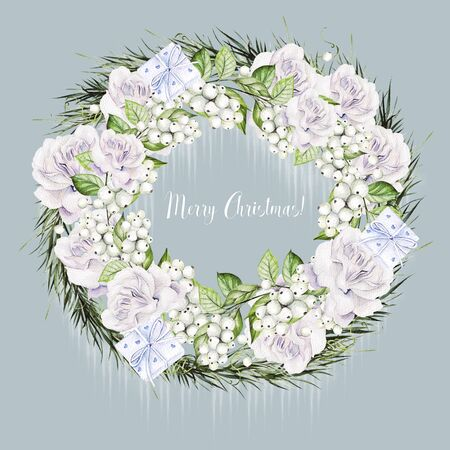 Bright watercolor christmas wreath with snowberry and  tender roses. Illustration Banco de Imagens - 131553569