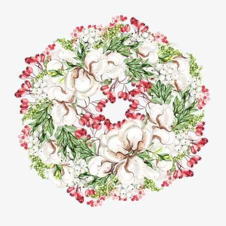 Beautiful watercolor Christmas wreath with  cotton and snowberry, rosehip. Illustration Banco de Imagens