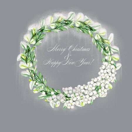 Bright watercolor christmas wreath with snowberry and  boxwood. Illustration