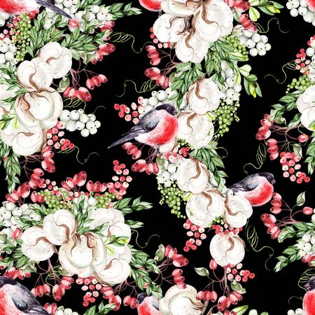 Beautiful watercolor Christmas pattern with bullfinch birds, cotton and snowberry. Illustration