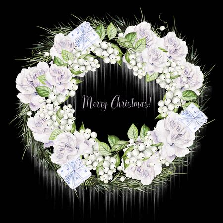 Bright watercolor christmas wreath with snowberry and  tender roses. Illustration