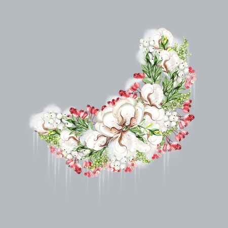 Bright watercolor christmas wreath with snowberry, cotton, rosehip and snow. Illustration