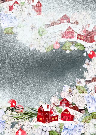 Bright watercolor christmas card with funny winter village, flowers and gifts. Illustration