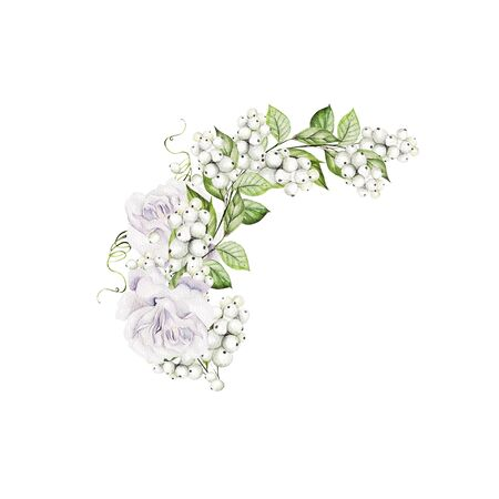 Bright watercolor wedding bouquet with snowberry and  tender roses. Illustration Banco de Imagens - 131553575