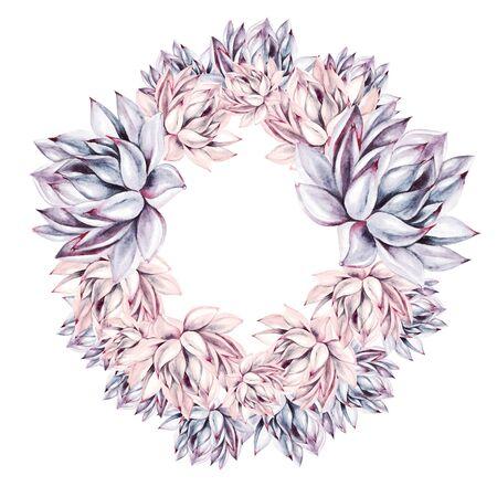 Beautiful watercolor succulent wreath.  Illustration
