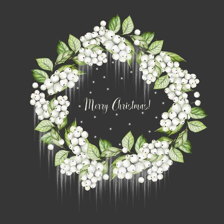 Bright watercolor christmas wreath with snowberry and  leaves. Illustration