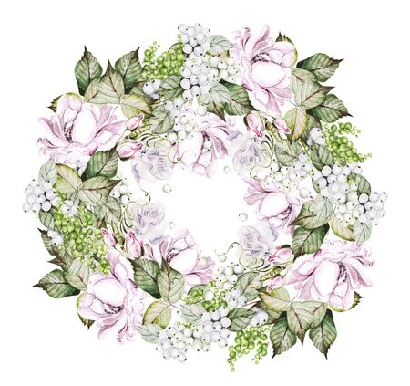Beautiful watercolor wedding wreath with roses, bud and snowberry. Illustration Banco de Imagens - 131697048