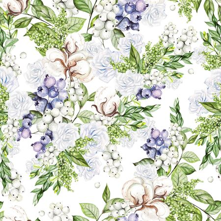 Beautiful Seamless pattern with watercolor tender roses and snowberry, cotton, and blueberries.  Illustration Stock Photo