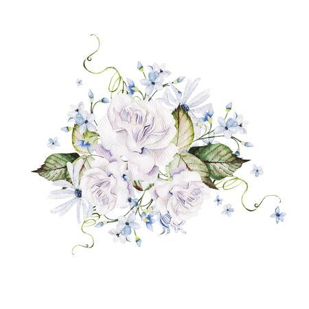 Beautiful watercolor wedding Bouquet  with roses flowers and leaves. Illustration Banco de Imagens - 131841842