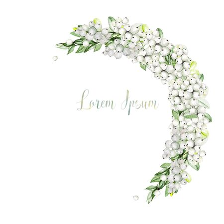Bright watercolor christmas bouquet with snowberry and  boxwood. Illustration