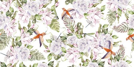 Beautiful watercolor seamless pattern with roses flowers and birds. Illustration Stockfoto