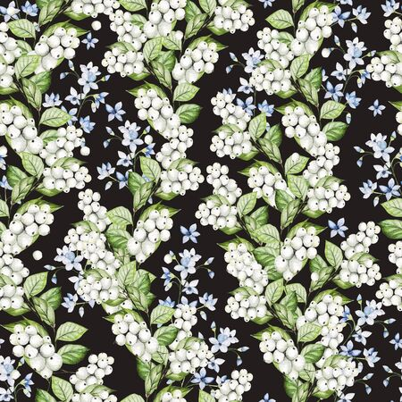 Beautiful Seamless pattern with watercolor forget-me-not and snowberry.  Illustration