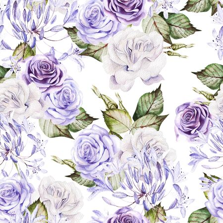 Beautiful watercolor seamless pattern with  white and purple roses, bud. Illustration Banco de Imagens
