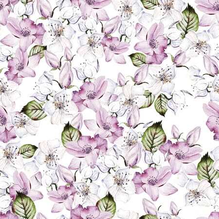 Beautiful Watercolor seamless pattern with anemone and flowers.  For design, print, fabric or background