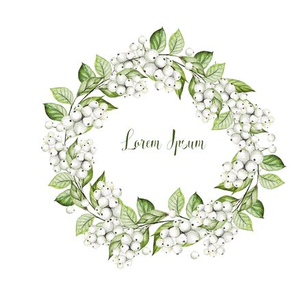 Bright watercolor wedding wreath with snowberry and  leaves. Illustration Banco de Imagens