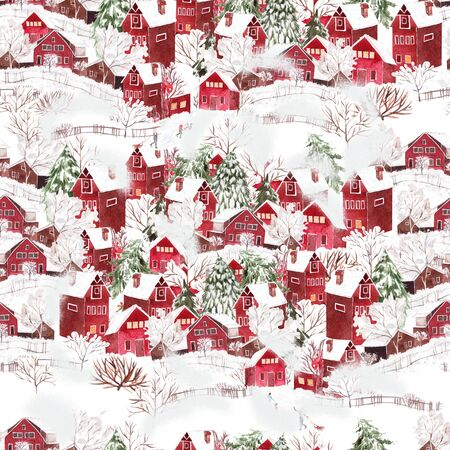 Bright watercolor christmas seamless pattern with funny winter village. Illustration Stock Photo