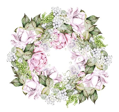 Beautiful watercolor wedding wreath with roses, peony and snowberry. Illustration Banco de Imagens