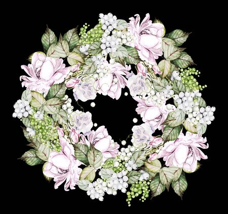 Beautiful watercolor wedding wreath with roses, bud and snowberry. Illustration Banco de Imagens