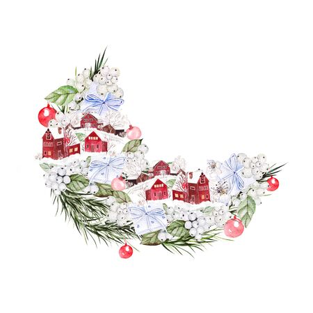 Bright watercolor christmas bouquet with funny winter village, flowers and gifts. Illustration for greeting cards and invitations.