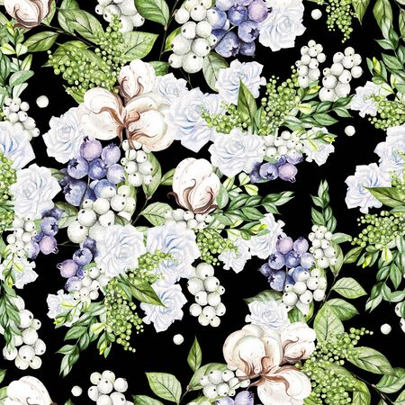 Beautiful Seamless pattern with watercolor tender roses and snowberry, cotton, and blueberries.  Illustration Banco de Imagens