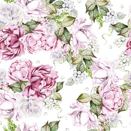 Beautiful watercolor seamless pattern with roses and peony flowers. Illustration Banco de Imagens