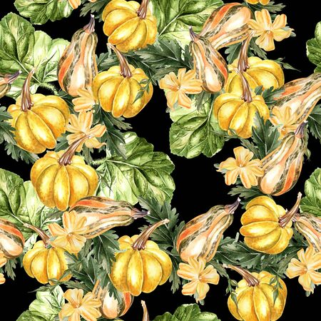 Bright watercolor seamless pattern with pumpkin vegetables and flowers. Illustration