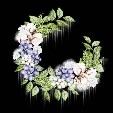 Beautiful winter wreath with watercolor tender roses and snowberry, cotton and blueberries.  Illustration