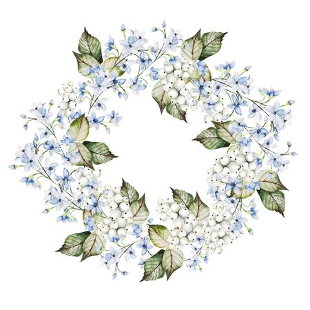 Beautiful watercolor wedding wreath with forget me not flowers and snowberry. Illustration Banco de Imagens
