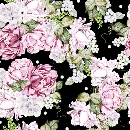 Beautiful watercolor seamless pattern with roses and peony flowers. Illustration Banco de Imagens - 133669176