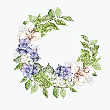 Beautiful wreath with watercolor tender roses and snowberry, cotton and blueberries.  Illustration Banco de Imagens